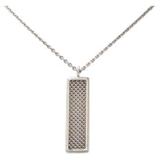 Vintage Sterling Silver Tiffany & Co Rectangle Mesh Dangling Necklace