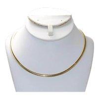 Vintage 14 KT Yellow Gold Omega Link Necklace