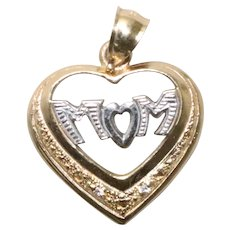 """Vintage 14 KT Yellow Gold Two Tone Heart """"Mom"""" Charm"""