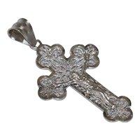 Vintage 14 KT White Gold Cross Pendant