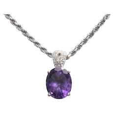 18K And 14K White Gold Diamond Amethyst Rope Necklace