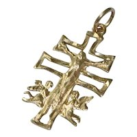 14 KT Gold Cross Angel Pendant