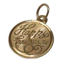 "14 KT Gold "" Happy Anniversary "" Pendant"