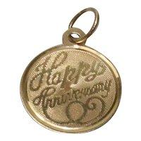 14 KT Gold '' Happy Anniversary '' Pendant