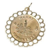 14 KT Gold '' Merry Christmas '' Pendant