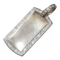 Sterling Silver Cubic Zirconia Dog Tag Pendant