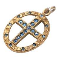 Vintage 12KT Gold Filled Sapphire Stone Cross Pendant