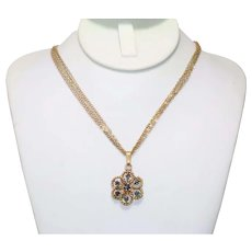 Vintage 14K Yellow Gold 7 Multi Stranded Floral .50 CT Sapphire Necklace