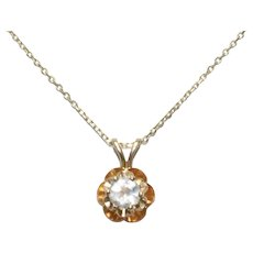 14k Yellow Gold Prong Set Moonstone Floral Necklace