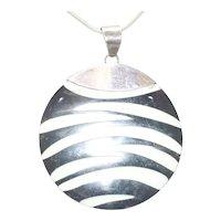 Vintage Sterling Silver Black and White Enamel Necklace