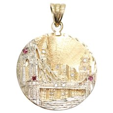 Vintage Two toned Gold 3D Handmade Brooklyn Bridge Pendent