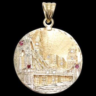 Vintage Two toned Gold 3D Handmade Brooklyn Bridge Pendent