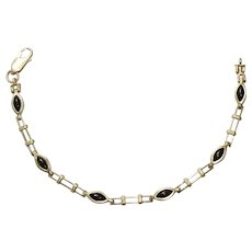 14K Yellow Gold Fancy Link Onyx Bracelet