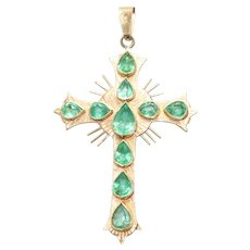 18 KT Gold 3.0 CT Emerald Cross Pendant