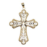 Vintage 14 KT Two Toned Gold Cross Pendant