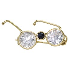 14k Gold White and Blue Zircon Glasses Brooch