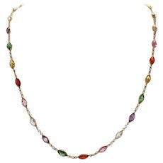 Vintage 14 KT Gold Lab Created Multi-Gemstone Italian Necklace