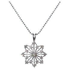 14 KT White Gold Diamond Snowflake Necklace