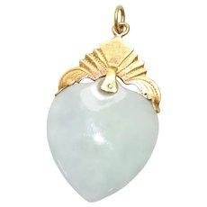22k Gold Jade Heart Pendant