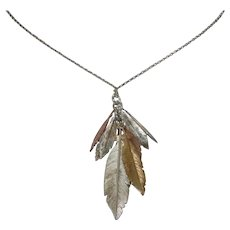 Sterling Silver Tri Colored Feather Necklace