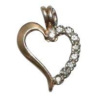 14 KT Two Tone Gold .18 CT Diamond Heart Pendant