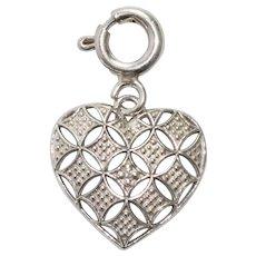 14 KT White Gold Heart Pendant