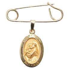 14 KT Gold Religious Saint Anthony Pin