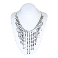 14K White Gold Italian Tapered Iced Hammered Cleopatra Collared Necklace