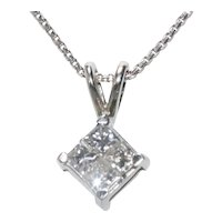 14K White Gold Diamond Princess Cut Necklace
