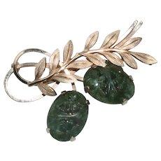 12K Gold Filled Florentine Leaf Jade Brooch