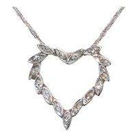 14K White Good Diamond Hand Engraved Heart Necklace