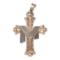 14 KT Two Toned Gold Cross Pendant