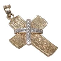 14 KT Two Tone Gold Cross Pendant