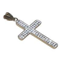 Vintage 14 KT Gold Swarovski Crystal Cross Pendant