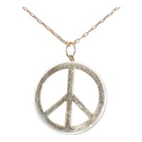 14K Yellow Gold Mother Of Pearl Peace Necklace