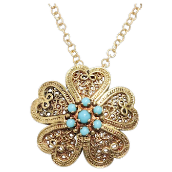Vintage 14K Yellow Gold Turquoise Necklace