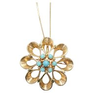 Vintage 14K Yellow Gold Turquoise Flower Necklace