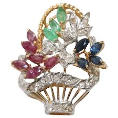 14K Yellow Gold Ruby, Emerald And Diamond Flower Bouquet Brooch