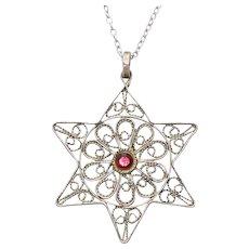 Sterling Silver Garnet Star Necklace