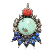 Vintage Sterling Silver Multi-Gemstones Pendant