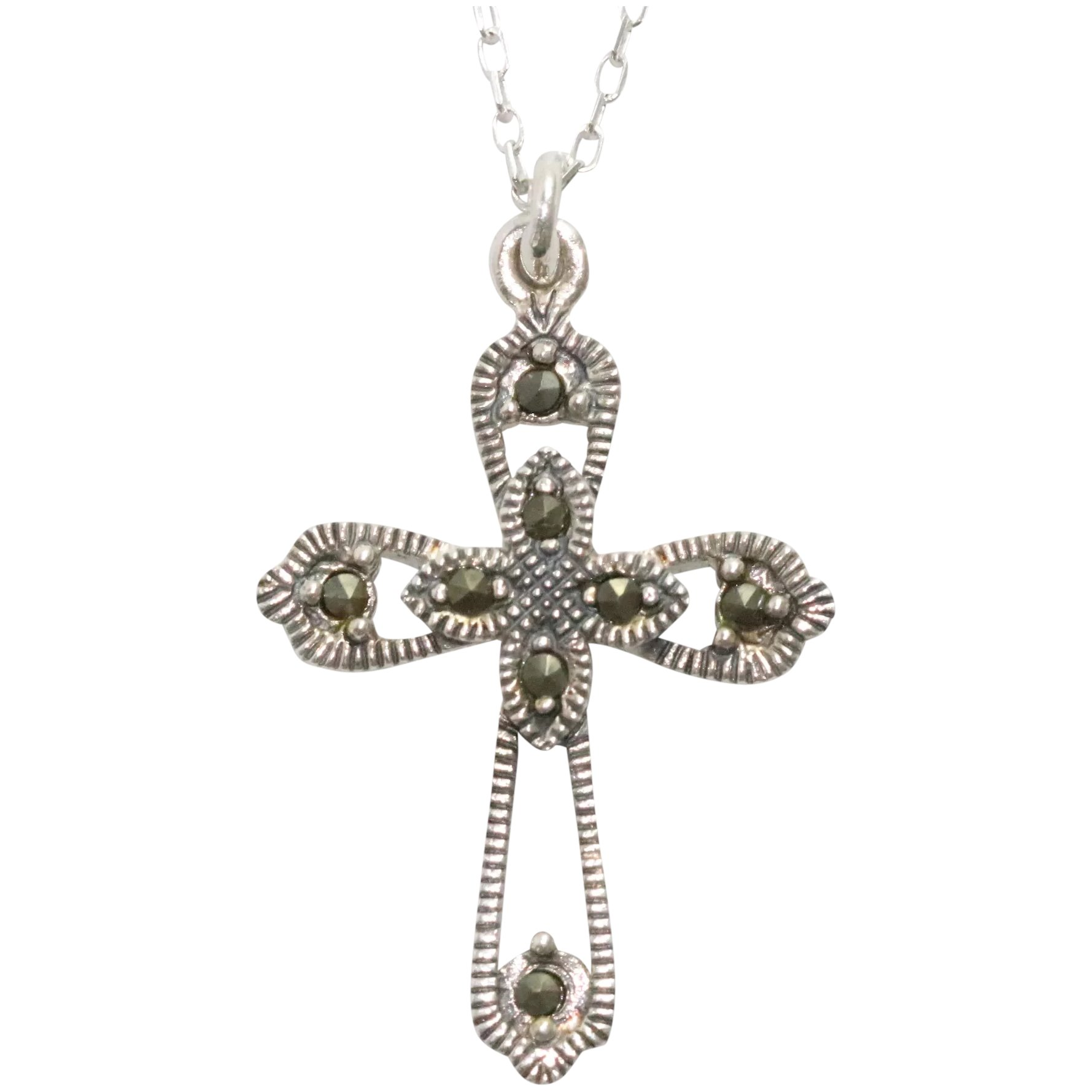 Cross Pendant Vintage 1.85 By 1.13 Sterling Silver With Marcasite And Red Stone
