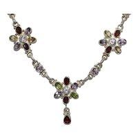 Sterling Silver Multi-Gemstones Flower Necklace