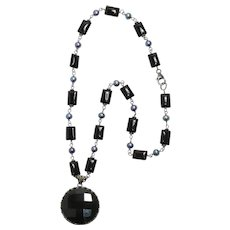 Tahitian Pearl and Onyx Sterling Silver Necklace