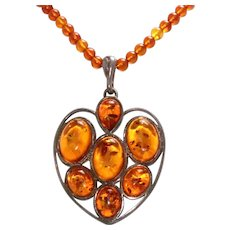 Sterling Silver All Natural Amber Necklace