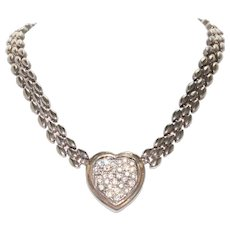 Vintage Sterling Silver White Cubic Zircon Heart Necklace