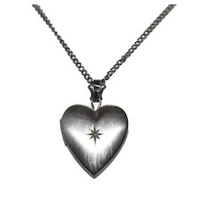 Vintage Sterling Silver Heart Locket Necklace