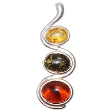 Sterling Silver Tri-Colored Amber Pendant