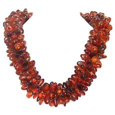 Vintage Handmade Two-Tone Baltic Amber Necklace