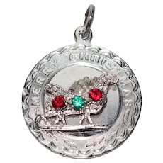 Vintage Sterling Silver Christmas Sleigh Pendant