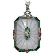 Antique 14 KT White Gold Enamel Ceramic Glass Art Deco Diamond Pendant